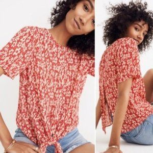 SEMI SHEER MADEWELL TIED FLORAL TOP BUTTON BACK